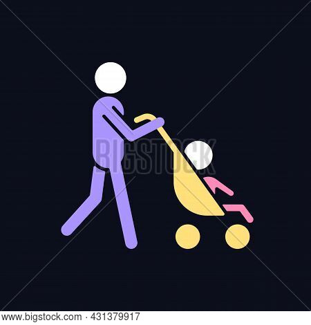 Walking With Stroller Rgb Color Icon For Dark Theme. Bonding Time With Newborn. Walk With Baby Carri