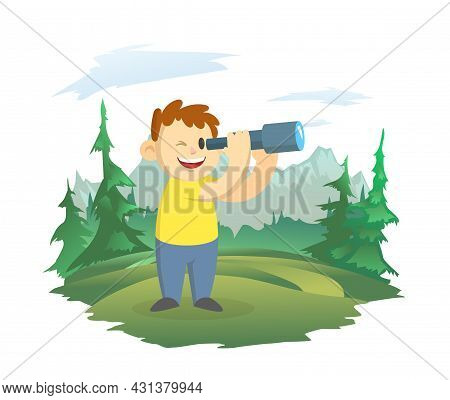 A Happy Boy Looks Through A Telescope. A Boy Scout On The Background Of A Mountain Landscape. Observ