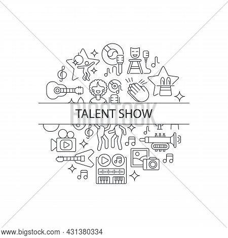 Talent Show Abstract Linear Concept Layout With Headline. Demonstrate Talent And Creativity. Live Sh