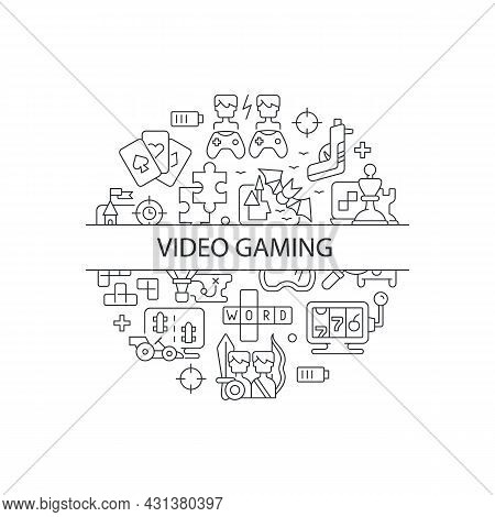 Video Game Abstract Linear Concept Layout With Headline. Gamers And Players Console Fun. Playing Con