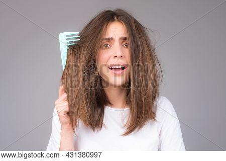 Hair For Hair Loss Problem, Woman Show Her Hair Tangled Damaged Hair.