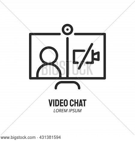 No Video Line Icon. Computer With Human And Crossed Out Camera. Video Conference And Online Meeting