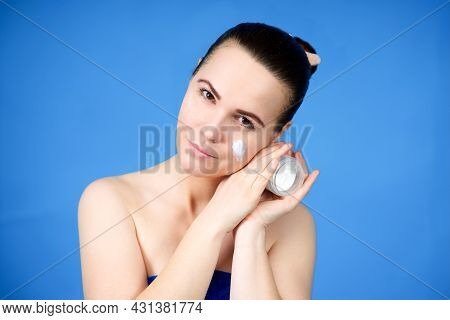 Beauty Portrait Of Beautiful Pretty Girl, Young Attractive Woman In Towel With Clear Skin Holding Ja