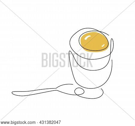One Line Egg. Continuous Line Breakfast. Soft Boiled Egg. Eggs In Minimalistic Design. Food Line Art