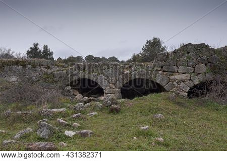 Ruins Of A Former Water Mill By The River Manzanares, Municipality Of Colmenar Viejo, Province Of Ma