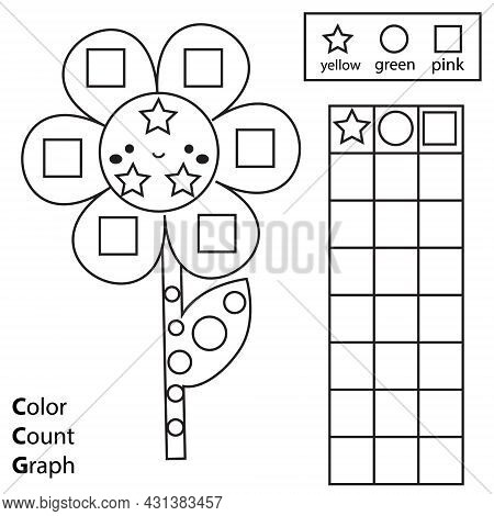 Color, Count And Graph. Educational Children Game. Color Flower And Counting Shapes. Printable Works
