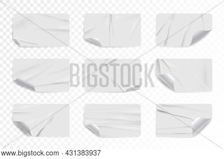 Crumpled White Rectangle Sticker Or Label With Curled Corner. Set Of Rectangular Paper Patch Or Tape