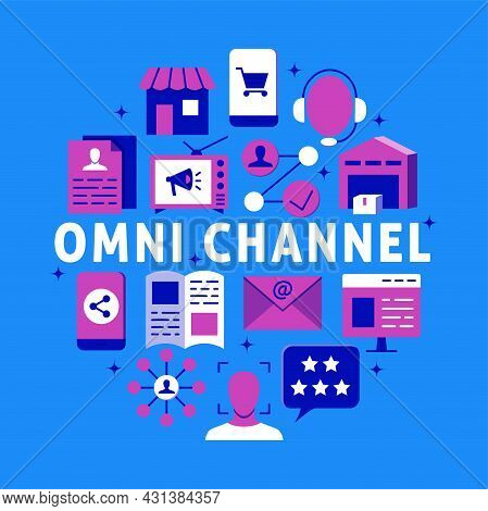 Omni-channel Marketing Round Poster In Flat Style