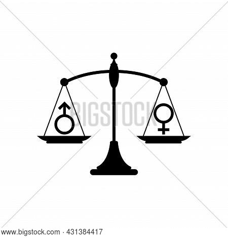 Gender And Sexual Equality Concept. Scales With Male And Female Sex Symbols. Balance Between Man And