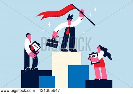 Business Success, Leadership And Achievement Concept. Young Businessman Standing On Top Of Podium On