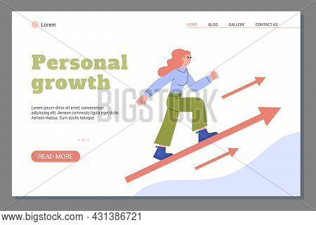 Landing Page With Text Professional Growth And Woman Striving Forward And Upward. Vector Flat Illust