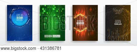 Modern Science And Digital Technology Concept. Vector Template For Brochure Or Cover With Hi-tech El