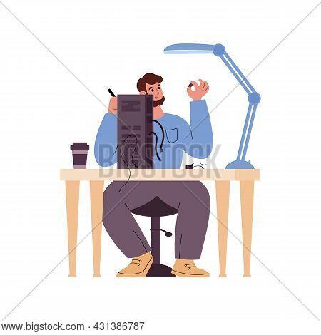 Repairman Or Serviceman Fixing Broken Computer Flat Vector Illustration Isolated.