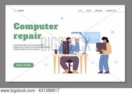 Web Banner For Computer Repair Service Center With Professional Technicians.