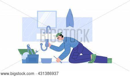 Worker Plumber Of Plumbing Service Repair Fixing Pipe Under Sink In Home Bathroom