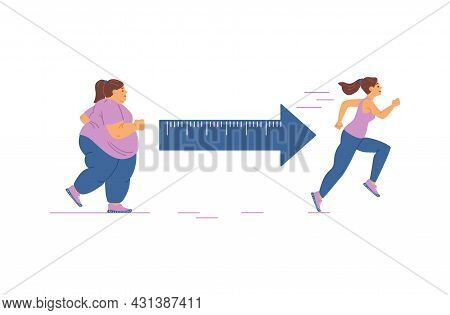 Fat Young Woman With Obese Problem Engaged Fitness For Lose Weight And Slim Body
