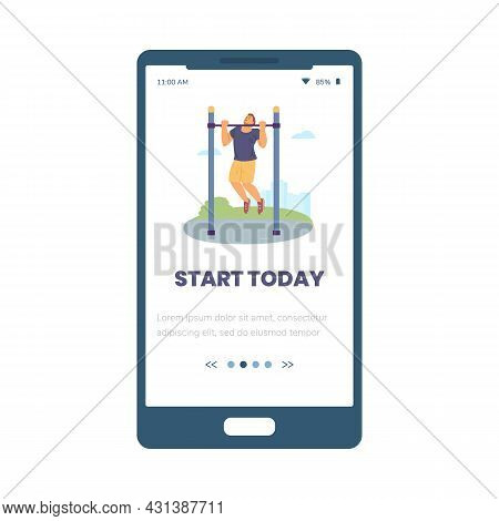 Sport App Onboarding Page With Man Performs Pull-ups, Flat Vector Illustration.