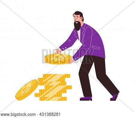 Business Man In Formal Suit Stacking Coins, Flat Vector Illustration Isolated.