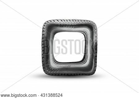 Square Tire Wheel, Wrong Or Damaged Damaged Tire, Fake. Funny Isolate On A White Background