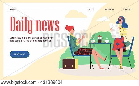 Daily News Website With Women Reading Newspaper, Flat Vector Illustration.