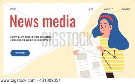 News Media Website Banner With Woman Reads Newspaper Flat Vector Illustration.