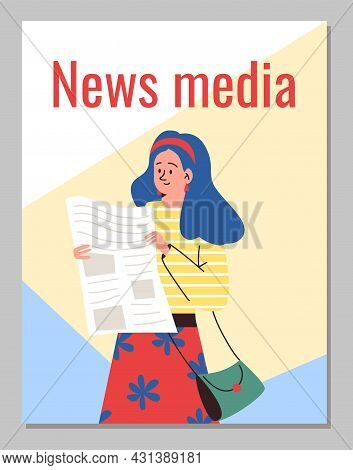 News Media Banner With Woman Reading Newspaper, Flat Vector Illustration.