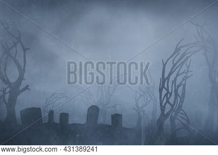 Spooky Graveyard At Night Background, Halloween Background