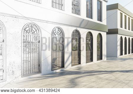 Creative Sketch Of Business Center Exterior With Windows And Shadows In Daylight. Repairs Concept. 3