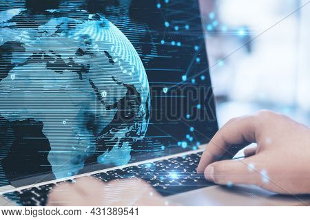 Close Up Of Hands Using Notebook With Abstract Globe Interface And Shield Connections. Big Data And