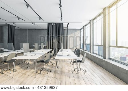 Contemporary Coworking Office Interior With Wooden Flooring, City View, Furniture And Daylight. 3d R