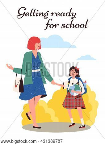 Getting Ready To School Concept Of Banner Or Poster Flat Vector Illustration.