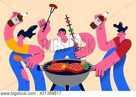 Barbecue Summer Party Fun Concept. Group Of Young Positive People Friends Having Bbq Party Roast Sau