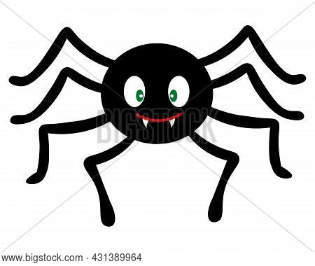 Spider. Silhouette. Vector Illustration. Isolated White Background. Flat Style. Cute Toothy. Hallowe