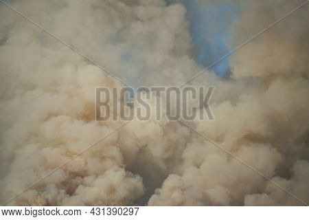 Large Clouds Of Smoke Against The Sky, Wildfire, Natural Disaster, Forest Fires, Ecological Disaster