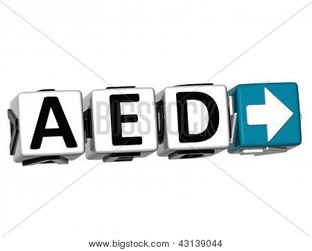3D United Arab Emirates Dirham Currency Aed Button Click Here Block Text