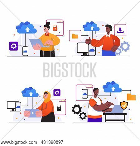 Cloud Computing Concept Scenes Set. People With Laptops Or Smartphones Using Cloud Storage, Upload F