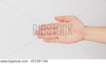 Go In This Direction Hand Sign Isolated On White Background.(by Held Flat And The Palm Facing The Si