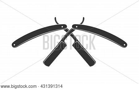 Crossed Razors Icon. Straight Razors For Shaving Graphic Sign Isolated On White Background. Barber S