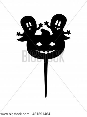 Halloween Ghost And Pumpkin Cake Topper Ready To Cut With A Laser Cutting Machine.