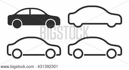 Car Icon Set In Linear Style. Transport Symbol. Vector Illustration.