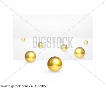 Abstract Futuristic 3d Background. White Cylinder Surrounded By Golden Balls On A White Surface. Whi
