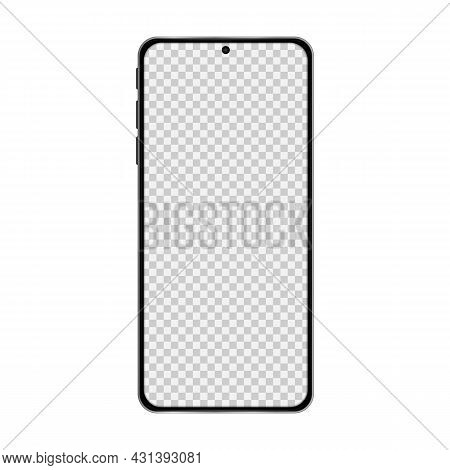 Realistic Model Smartphone With Transparent Screen. Smartphone Mockup. Device Front View. Vector Ill
