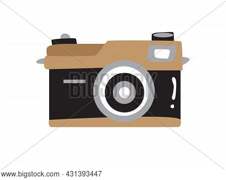 Illustration Of An Old Vintage Non-interchangeable Lens Camera In Black And Brown.