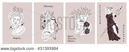 Antique Statues Cards. Greek Gods Sculptures. Retro Elements Combination In Modern Graphics Style Wi