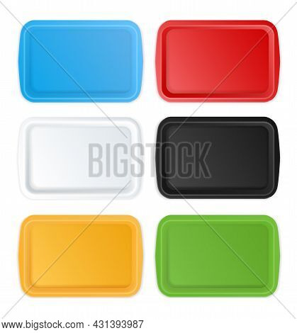 Plastic Trays. Realistic Empty Serving Plates Rectangular Shape, Different Colors Containers Mockup,