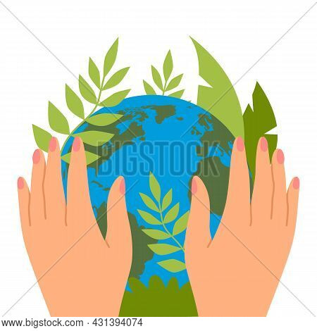 Protecting Planet. Hands Hold Green Leaves, Save The Earth, Ecological Activists, Banner Or Card, Ec