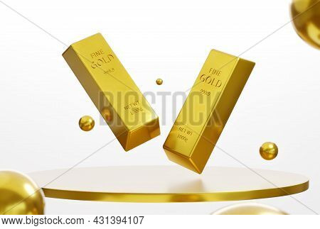 Gold Bar On The Presentation Stand On A White Background, Wealth Concept, Treasure, And Trading, Inv