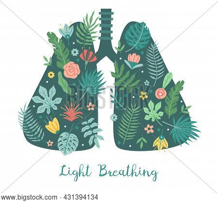 Lungs Care. Light Breathing Concept. Cartoon Body Respiratory Organ With Green Plant Leaves And Flow