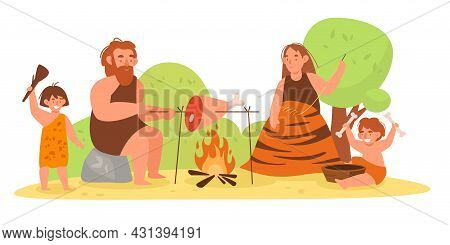 Stone Age Family. Primitive Prehistoric People. Mom, Dad And Kids Cooking Or Sewing Animal Skins Clo