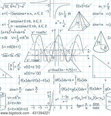 Seamless Pattern Math Formulas. Exact School Equations And Functions, Education, Science, Algebraic